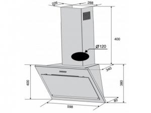 Витяжка наклонна Ventolux FIORE 60 X/BG (750) PB nalichie