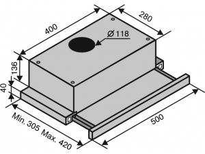 Витяжка телескопічна Ventolux GARDA 50 INOX (700) SLIM nalichie