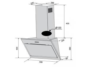 Витяжка наклонна Ventolux FIORE 60 WH (750) PB nalichie