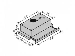 Витяжка телескопічна Ventolux GARDA 60 WHG (700) SLIM nalichie
