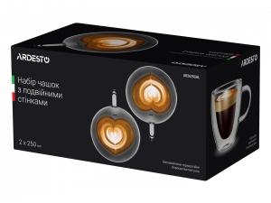 Набір чашок з ручками Ardesto з подвійними стінками, 250 мл, H 9,5 см, 2 од. (AR2625GHL)