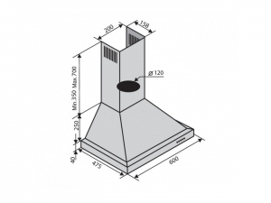 Витяжка купольна Ventolux LAZIO 60 WH (750) nalichie