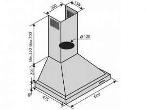 Витяжка купольна Ventolux LAZIO 60 BK (750) nalichie